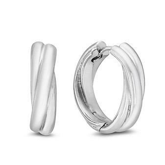 Sterling Silver Twisted Hinged Hoop Earrings