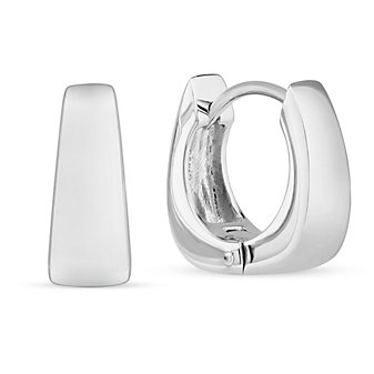 Sterling Silver Square Tapered Hoop Earrings