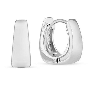 Sterling Silver Square Tapered Hoop Earrings
