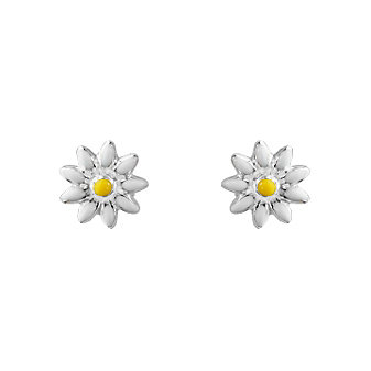 Sterling Silver Yellow & White Enamel Daisy Flower Earrings