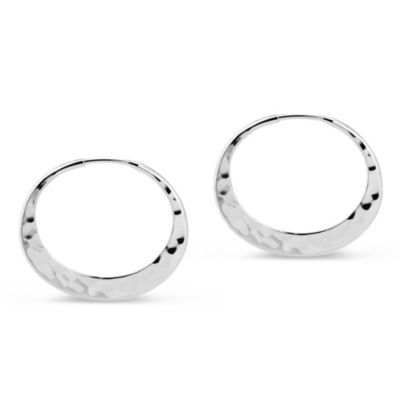 Toby Pomeroy EcoSilver Eclipse Hammered Hoop Earrings, 24mm