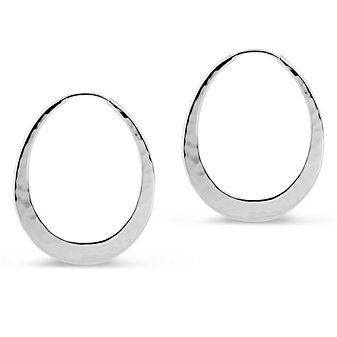Toby Pomeroy EcoSilver Eclipse Hammered Hoop Earrings, 34mm