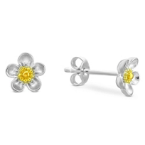 Sterling_Silver_and_Yellow_Tone_Child's_Flower_Earrings