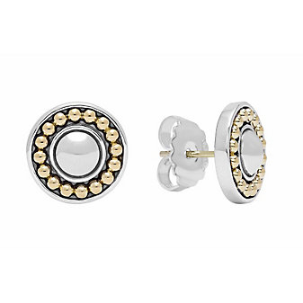 Lagos Sterling Silver & 18K Yellow Gold Enso Circle Stud Earrings