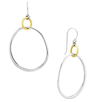 Sterling Silver & Yellow Tone Circle Drop Earrings