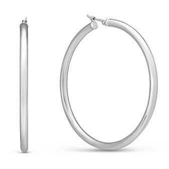 Sterling Silver Large Hoop Earrings, 50mm