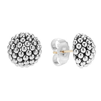 Lagos Sterling Silver Signature Domed Caviar Stud Earrings