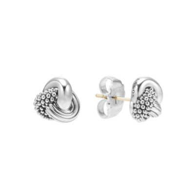 Lagos Signature Caviar Sterling Silver Love Knot Earrings