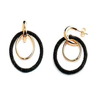 Pesavento Polvere di Sogni Pink Sterling Silver & Black Dust Double Oval Earrings