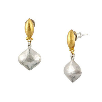 Gurhan Sterling Silver and 24K Yellow Gold Clove Cielo Drop Earrings