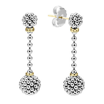 Lagos Sterling Silver & 18K Yellow Gold Caviar Forever Beaded Drop Earrings