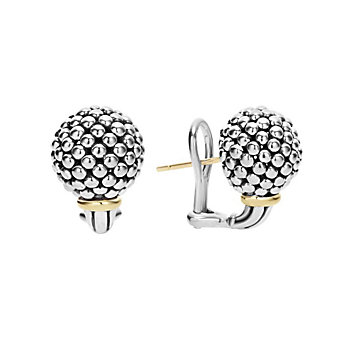 Lagos Sterling Silver & 18K Yellow Gold Caviar Forever Beaded Sphere Earrings