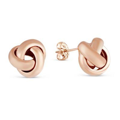 Sterling Silver & Rose Tone Love Knot Earrings