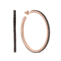 pesavento_rose_tone_sterling_silver_dark_brown_dust_large_hoop_earrings