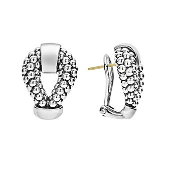 lagos sterling silver caviar beaded derby omega clip earrings
