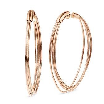 Pesavento Rose Tone Sterling Silver DNA Spring Large Hoop Earrings