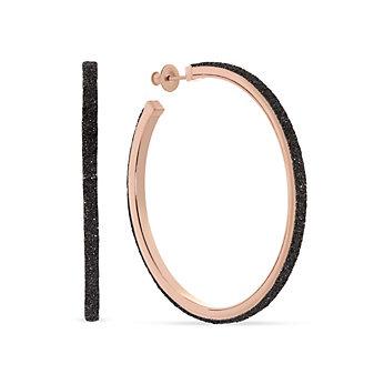 pesavento rose tone sterling silver black dust large hoop earrings
