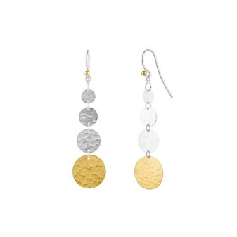 gurhan yellow tone sterling silver layered graduated hammered disc drop earrings