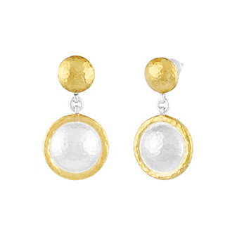 gurhan yellow tone sterling silver layered hammered circle spell drop earrings