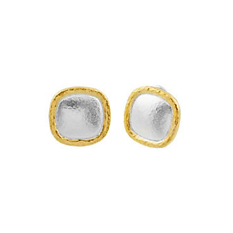 gurhan yellow tone sterling silver layered cushion shape spell button earrings