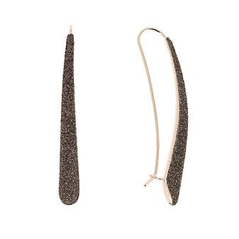 pesavento rose tone sterling silver dark brown dust long drop earrings