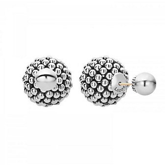 lagos sterling silver signature caviar ball front back post earrings