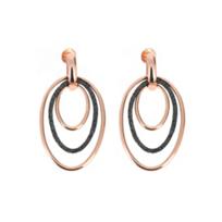 pesavento_rose_tone_sterling_silver_&_dark_brown_dust_sparkle_triple_oval_earrings