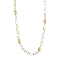 Sterling_Silver_and_Yellow_Tone_Small_Sparkle_Marquise_Pebble_Link_Station_Necklace,_16""