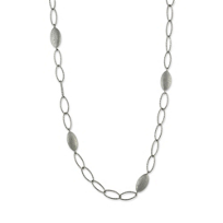 Sterling_Silver_and_Ruthenium_Small_Sparkle_Marquise_Pebble_Link_Station_Necklace,_16""