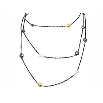 Gurhan Sterling Silver and 24K Yellow Gold Long Tri-Tonal Lentil Strand Necklace