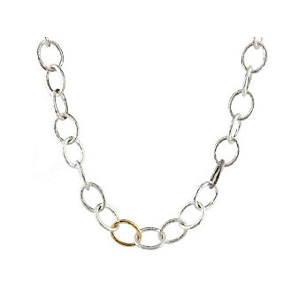 Gurhan Sterling Silver and 24K Yellow Gold Classic Hoopla Oval Linked Necklace
