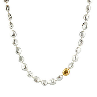 """Gurhan Sterling Silver & Yellow Tone Spell Nugget Necklace, 18"""""""