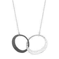 """Toby_Pomeroy_Sterling_Silver_Eclipse_Hammered_Oval_Pendant,_18""""_____"""