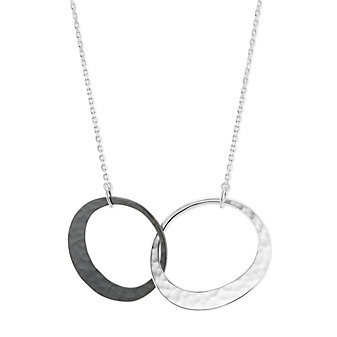 """Toby Pomeroy Sterling Silver Eclipse Hammered Oval Pendant, 18"""""""