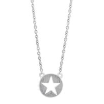 """Sterling_Silver_Star_Cutout_Disc_Necklace,_15-17"""""""