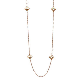 Sterling Sliver & Rose Tone Puffed Square Station Toggle Necklace, 36""