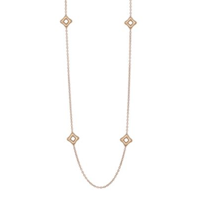 """Sterling Sliver & Rose Tone Puffed Square Station Toggle Necklace, 36"""""""