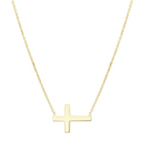 Yellow_Tone_Sterling_Silver_Mini_Cross_Side_Necklace_