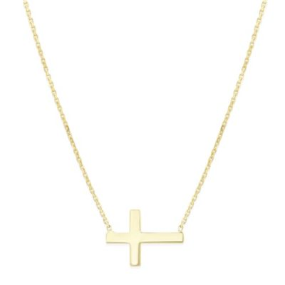 Yellow Tone Sterling Silver Mini Cross Side Necklace