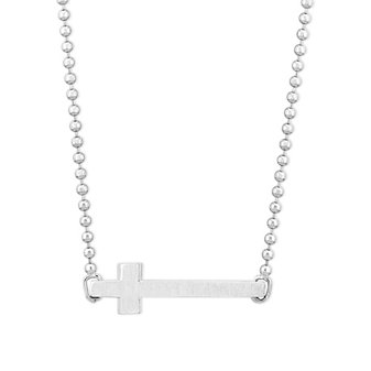 Alex Woo Sterling Silver Horizontal Cross Necklace, 16""