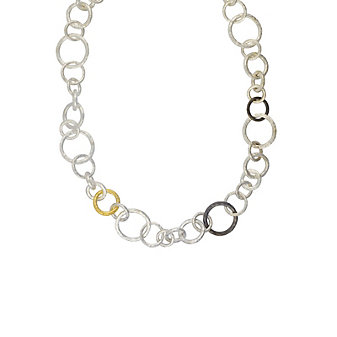 gurhan sterling silver, 24k yellow gold, & blackened silver mixed link necklace