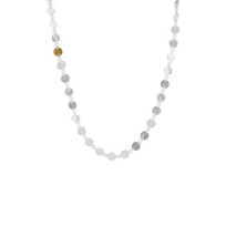 """gurhan_yellow_tone_sterling_silver_layered_hammered_disc_link_necklace,_18"""""""