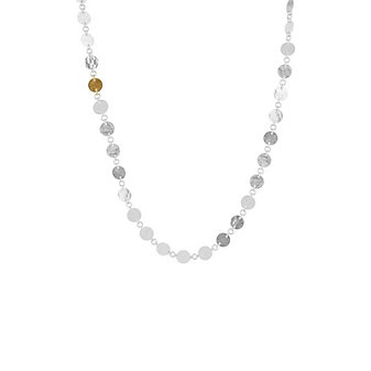 gurhan yellow tone sterling silver layered hammered disc link necklace, 18""