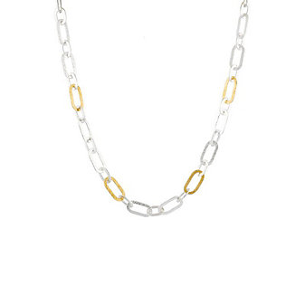 """gurhan yellow tone sterling silver layered mango hammered link necklace, 18"""""""