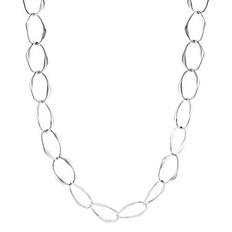 """sterling silver flat oval link necklace, 20"""""""