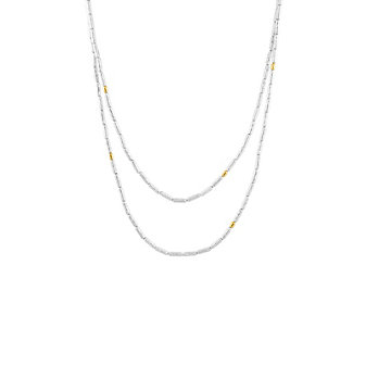 gurhan yellow tone sterling silver layered tube bead necklae, 36""