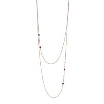 """pesavento_rose_tone_sterling_silver_double_strand_rose_&_brown_dust_necklace,_26"""""""