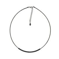 "pesavento_ruthenium_&_sterling_silver_strand_dark_grey_dust_necklace,_18.5"""