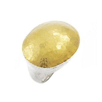 Gurhan Sterling Silver and 24K Yellow Gold Oval Domed Jordan Lentil Ring