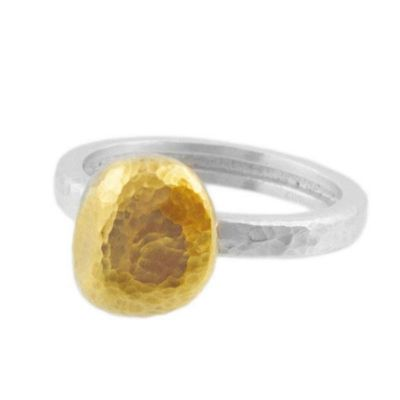 Gurhan Sterling Silver & Yellow Tone Hammered Spell Ring